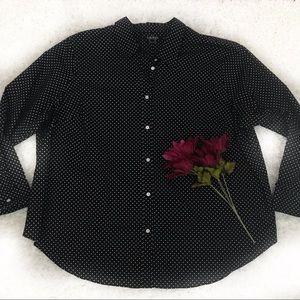 Ralph Lauren 3X Black Polka Dot Button Down Shirt